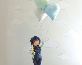 Doll holding balloons mobile, Baby mobile, Nursery room decor, Pastel nursery, Baby shower gift