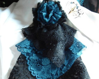 black/blue with flower lace jabot