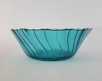 1930's Jeannette Glass Petal Swirl Aquamarine Bowl