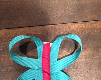 Teal and pink butterfly hair clip