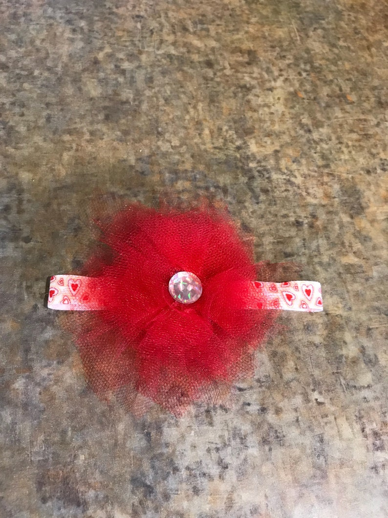 Red tulle flower baby headband with heart fold over elastic