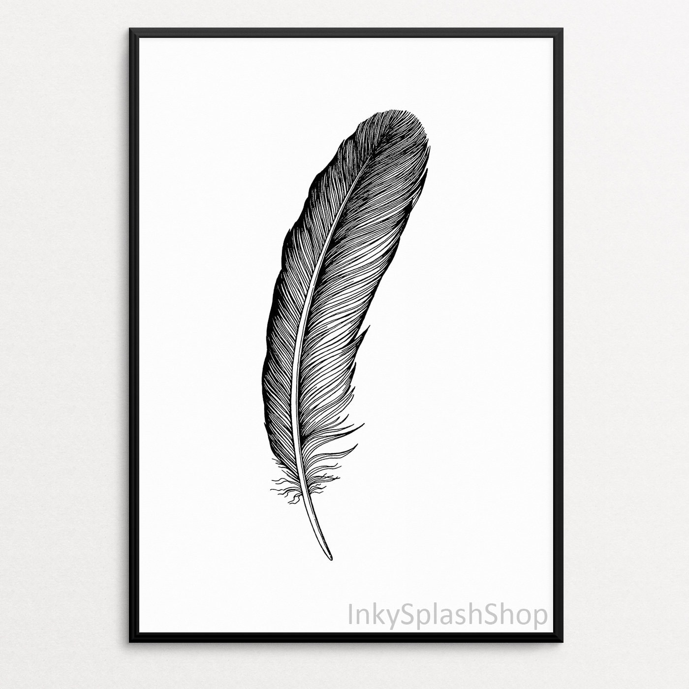 image about Feather Printable identified as Feather PRINTABLE artwork Boho Bed room wall decor Black Hen feather ink drawing Character print Rustic property decor Minimalist poster Down load