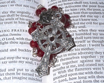 Anglican Rosary Protestant Prayer Beads Episcopal Necklace Handmade (Red)