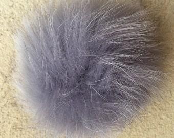 """Genuine 4.5-5"""" detachable light grey fox fur pom pom"""