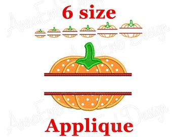 Split Pumpkin Applique embroidery design. Pumpkin mini design. Halloween design. Pumpkin Design. Pumpkin embroidery. Machine embroidery.