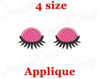 Eyes with lashes applique Embroidery Design. Eyes Embroidery Design. Machine Embroidery Design. Eyes Design. Doll eyes Embroidery.