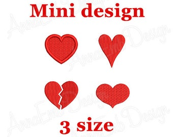 Heart Embroidery design. Mini heart Embroidery. Love. Heart shapes. Valentines day. Machine Embroidery Design. Embroidery design Heart