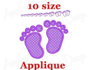 Baby Feet applique Embroidery Design. Machine Embroidery Design. Mini Baby Feet Design. Newborn Baby Footprint. Baby Feet Embroidery Design