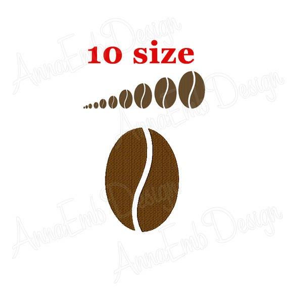 Diseño de bordado del grano de café. Diseño de bordado mini | Etsy