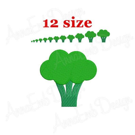 Broccoli Embroidery Design Broccoli Silhouette Embroidery Etsy