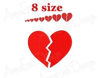 Broken Heart Embroidery design. Mini heart Embroidery design. Love design. Heart shapes. Valentines day. Machine Embroidery Design.