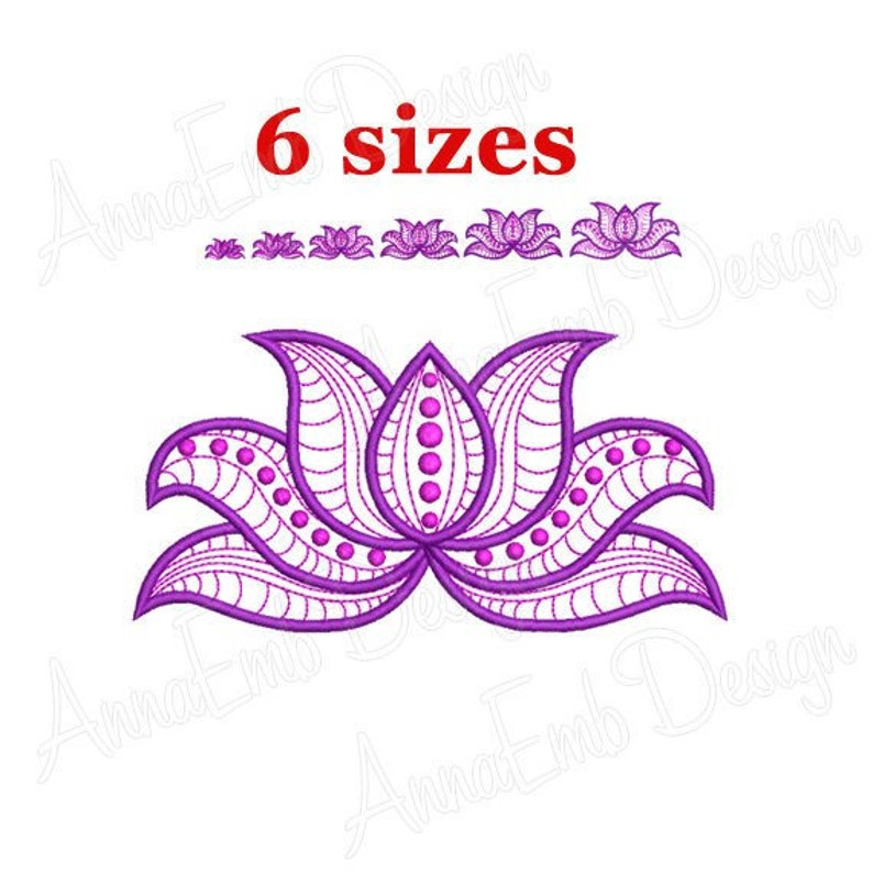 Lotus Flower Embroidery Design Machine Embroidery Design Etsy