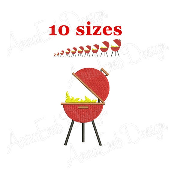 Barbecue Embroidery Design Barbecue Silhouette Embroidery Etsy