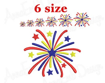 Fireworks embroidery design. 4th of July Embroidery Designs. Fill Embroidery Design. Patriotic Fireworks. Patriotic Embroidery design.