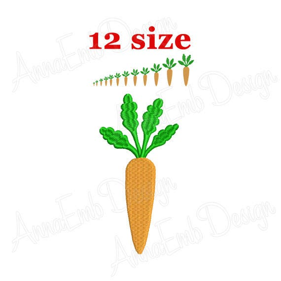 Carrot Embroidery Design Carrot Mini Machine Embroidery Etsy