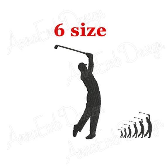 Golfer Embroidery Design Golfer Silhouette Mini Golfer Etsy