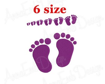 Baby Feet Embroidery Design. Machine Embroidery Design. Mini Baby Feet Embroidery Design. Newborn Baby Footprint. Filled Stitch Design.