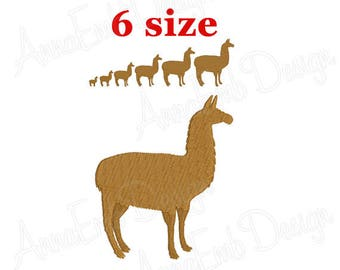 Llama Embroidery design. Llama Silhouette. Llama mini Embroidery. Alpaca design. Farm Embroidery. Machine Embroidery Design.