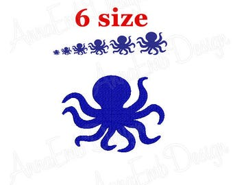 Octopus Embroidery design. Octopus Silhouette. Octopus mini Embroidery design. Octopus design. Animal Embroidery. Machine Embroidery Design
