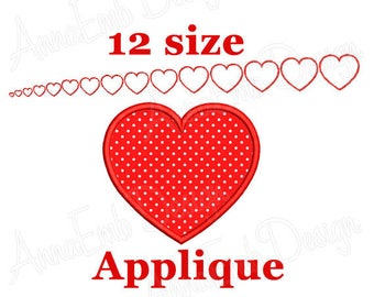 Heart Applique Embroidery Design. Heart Machine Embroidery Applique. Love applique design. Valentine applique. Heart shape applique