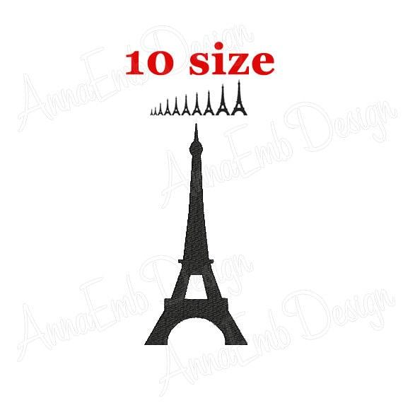 Eiffel Tower Embroidery Design Eiffel Tower Silhouette Etsy