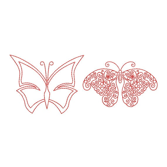 Butterfly Embroidery Designs Swirly Butterfly Redwork Machine Etsy