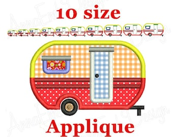 Camper Trailer Applique Embroidery. Camping trailer embroidery design. Travel Trailer Applique embroidery. Machine embroidery design.