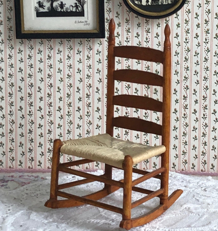 Vintage Wood Dollhouse Rocking Chair