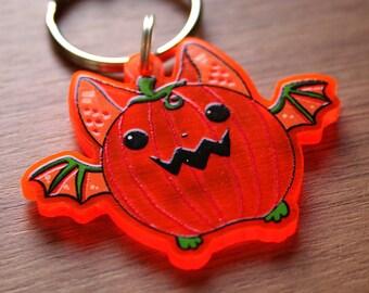 Pumpkin Fruit Bat Cute Keychain, Kawaii Hanging UV Reactive Bat Keyring, Birthday Gift, Gifts for Animal Lovers, Super Cute Bats