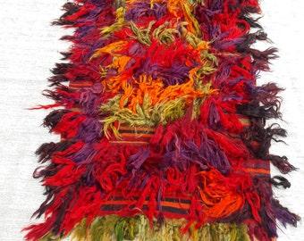 Turkish Shaggy Rug, Handmade Anatolian vintage tulu rug 33x68 inches