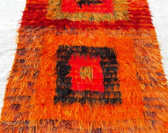 Shaggy Turkish Rug, Handmade Anatolian vintage Tulu rug 47x72 in 120x184 cm Home Decor Ethnic Tulu Rug Colorful Tulu Rug Traditional Tulu