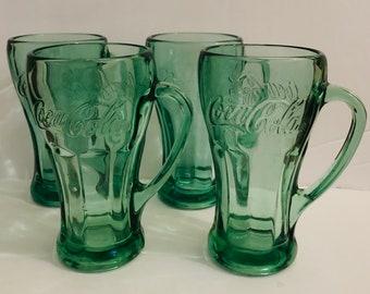 PAIR Vintage Coca Cola Coke Green Clear Glass Handle Mugs