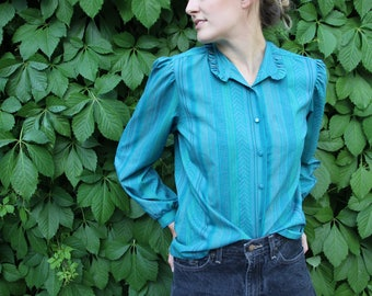 80's Ruffled Collar Patterned Button Up