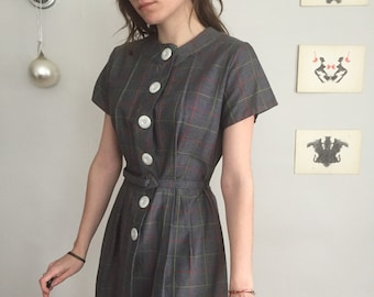 Vintage 50s Red And Green Windowpane Plaid Button Up Midi Dress