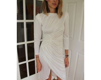 White Midi Dress With Sequined Embellishment