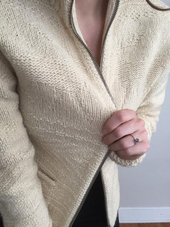 Vintage 80s Ralph Lauren Zip Up Knit Sweater - image 2