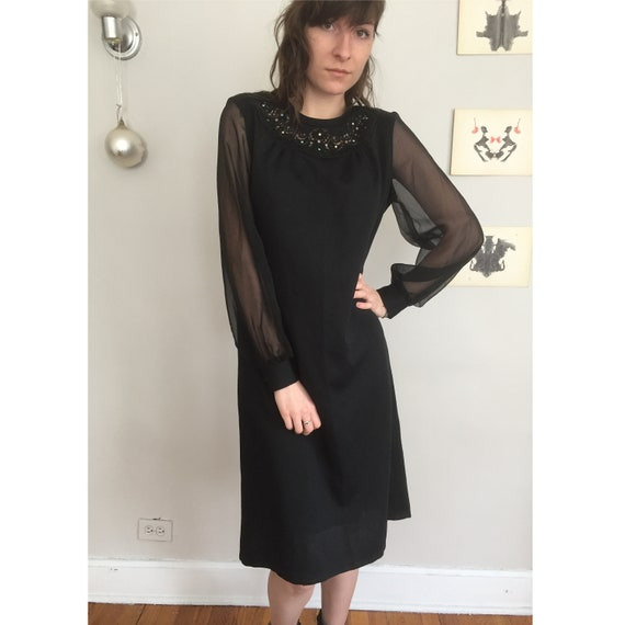 3dd5fb92 Vintage Late 70s Sheer Long Sleeve Little Black Midi Party Etsy