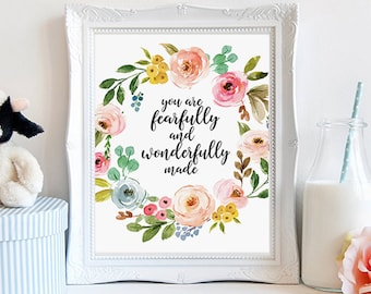 You are fearfully and wonderfully made, bible nursery decor, baby shower gift, Psalm 139:14, bible verse print, christian print, digital art
