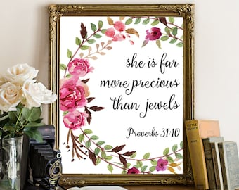 Baptism gift girl, scripture art, She is far more precious than jewels, bible verse, Proverbs 31:10, baby girl wall art, christian quote