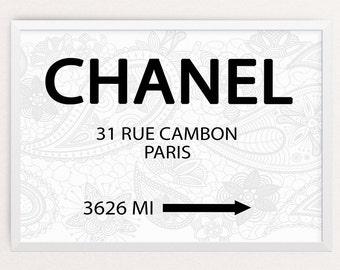 Chanel 31 Rue Cambon Paris, Printable art, Coco Chanel quote, fashion print, fashion illustration, office decor, home decor, girls room