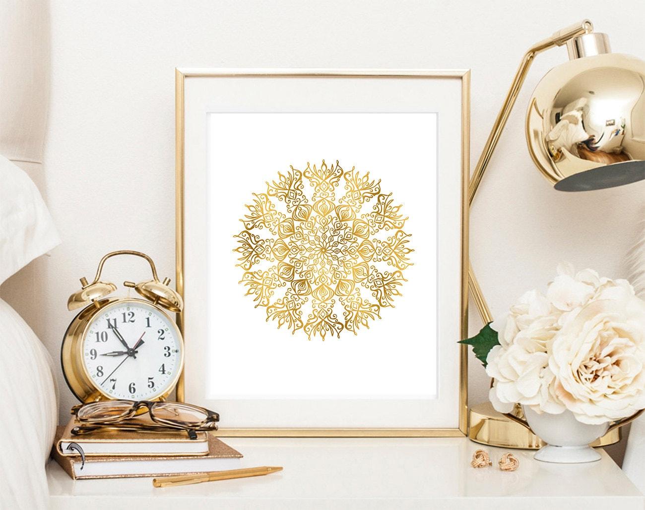 Mandala print gold mandala faux gold foil geometric poster   Etsy