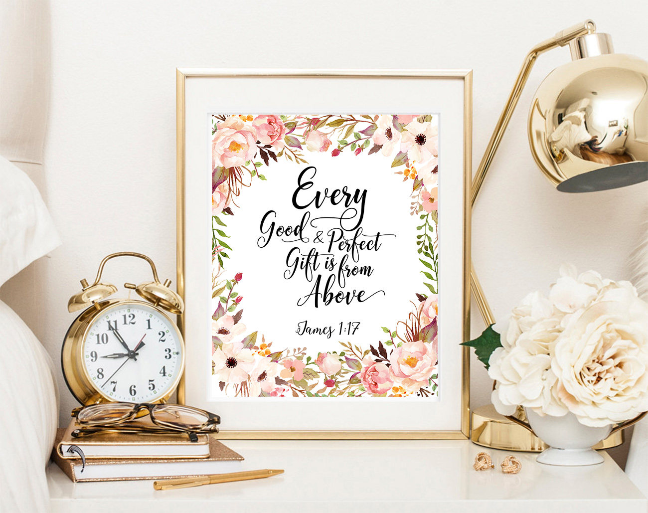 James 1:17 bile verse print Every good and perfect gift is from above baby shower gift faux gold foil printable scripture print