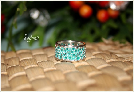 Size 7 Texture Turquoise Ring Wide Adjustable Band Sterling Silver