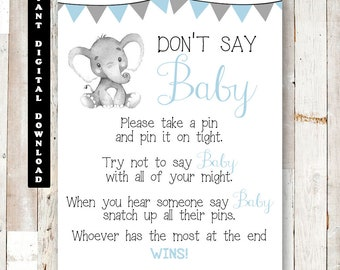 photograph relating to Don't Say Baby Game Sign Free Printable titled Dont say kid signal Etsy