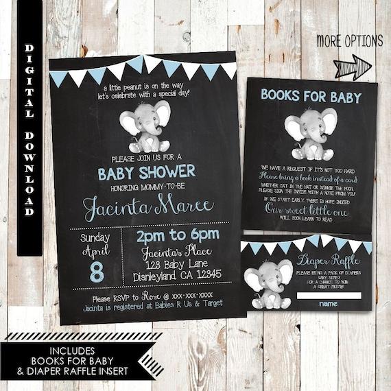 Elephant baby shower invitation boy chalkboard baby shower etsy image 0 filmwisefo