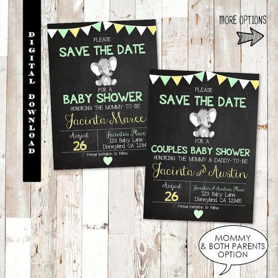 Elephant Save The Date Baby Shower Elephant Baby Shower Save The Date Gender Neutral Baby Shower Save The Date Unisex Save The Date Baby
