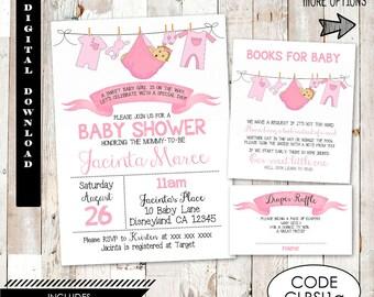 Pink Onesie Baby Shower Invitation.   Girl Clothes Line Baby Shower Invitation. Pink Onesie Baby Shower Invitation. Baby Shower for girl.
