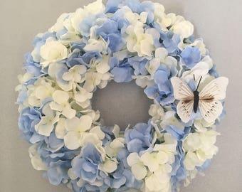 Blue and white hydrangea wreath