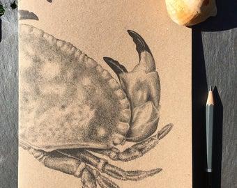 A5 kraft notebook crab pencil drawing