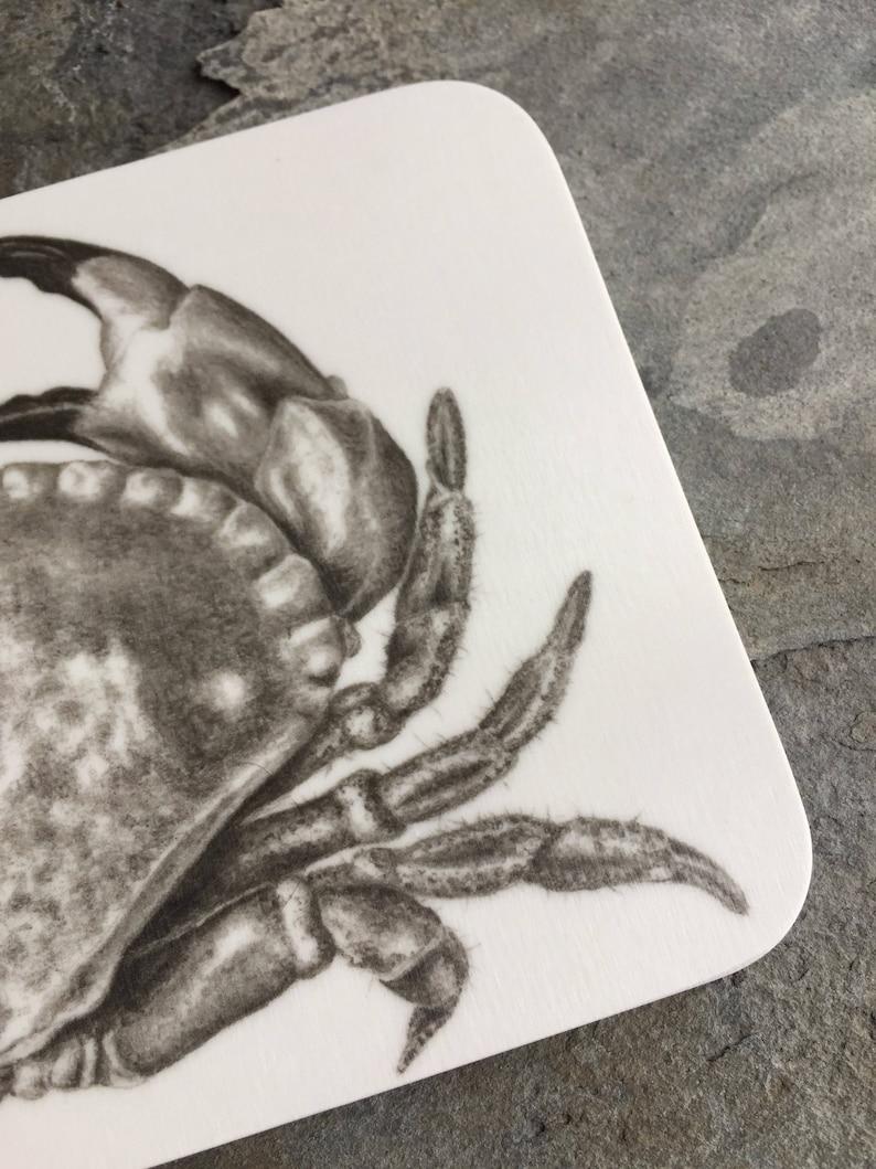 Melamine crab coaster from original pencil drawing